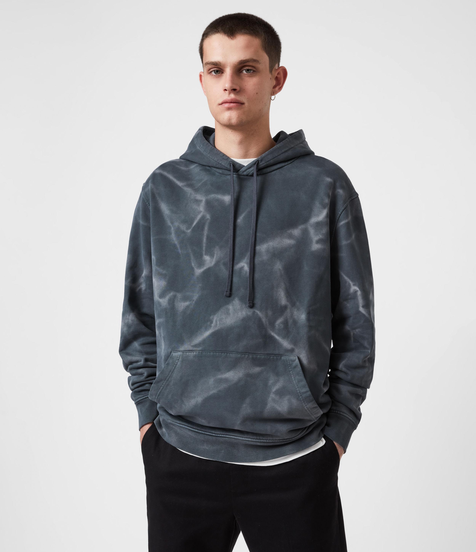 AllSaints Men's Cruz Pullover Hoodie, Washed Black, Size: M