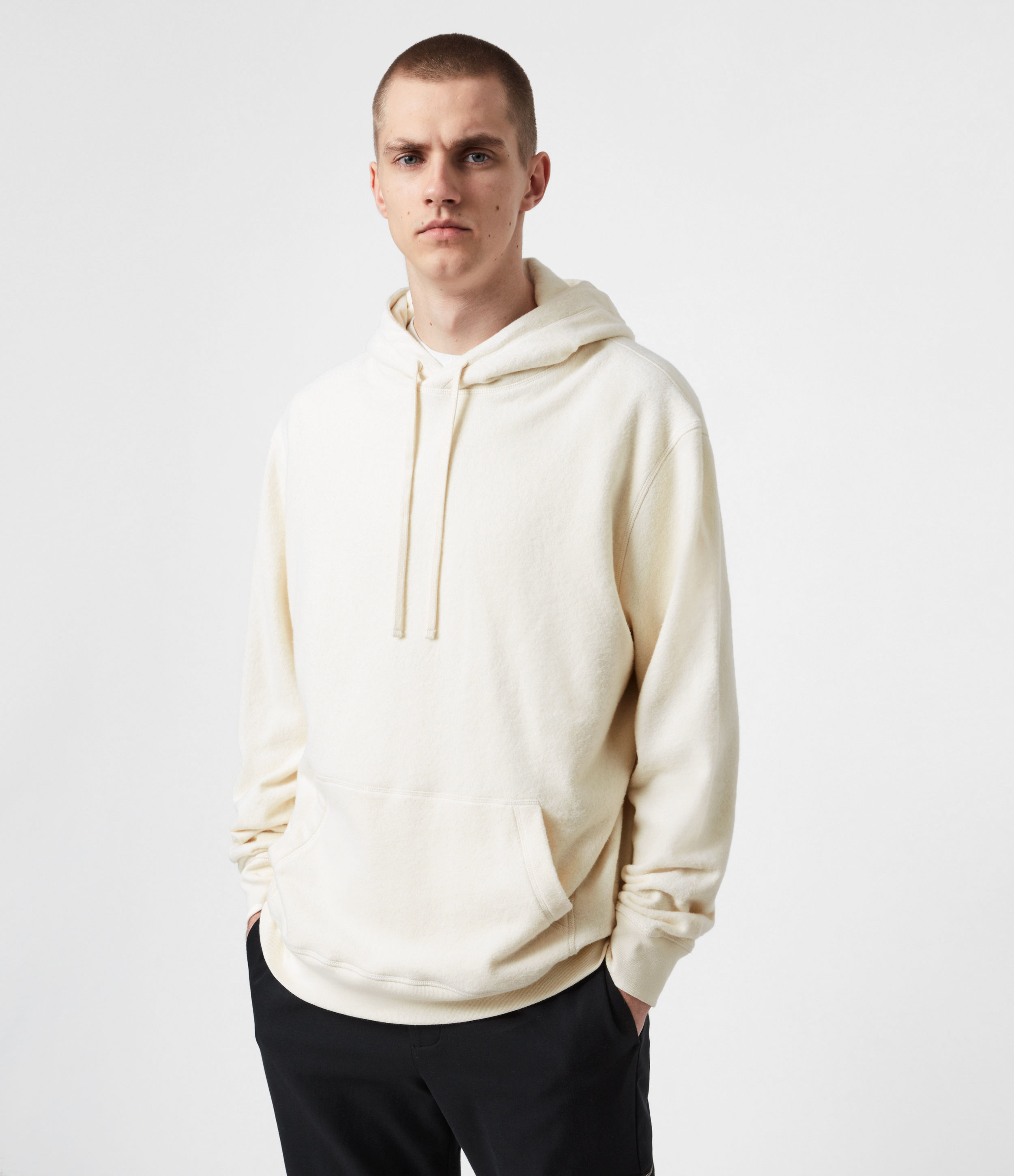 AllSaints Men's Cotton Relaxed Fit Axel Pullover Hoodie, Cream, Size: XL