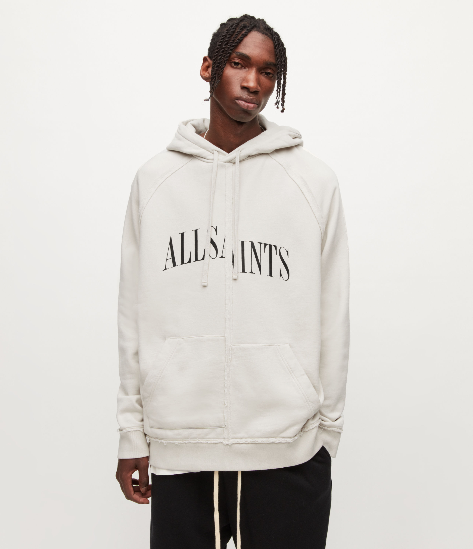 AllSaints Men's Diverge Pullover Hoodie, ASH White, Size: XL