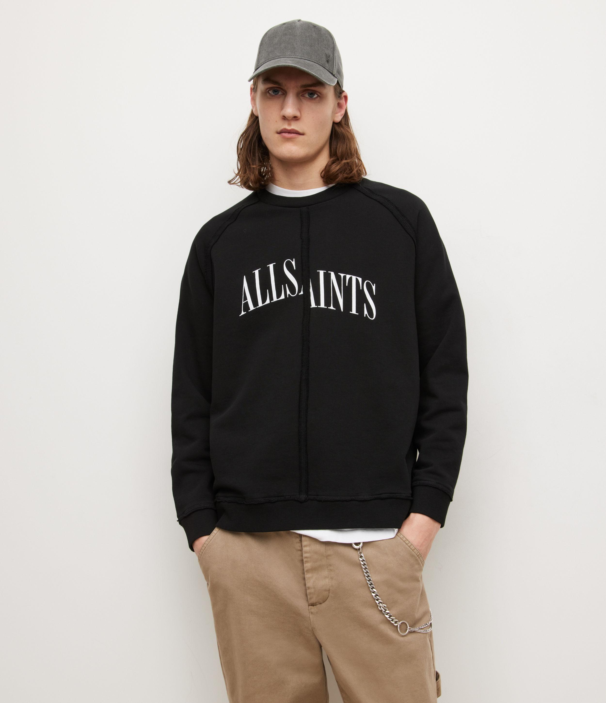 AllSaints Mens Diverge Crew Sweatshirt, Jet Black, Size: L