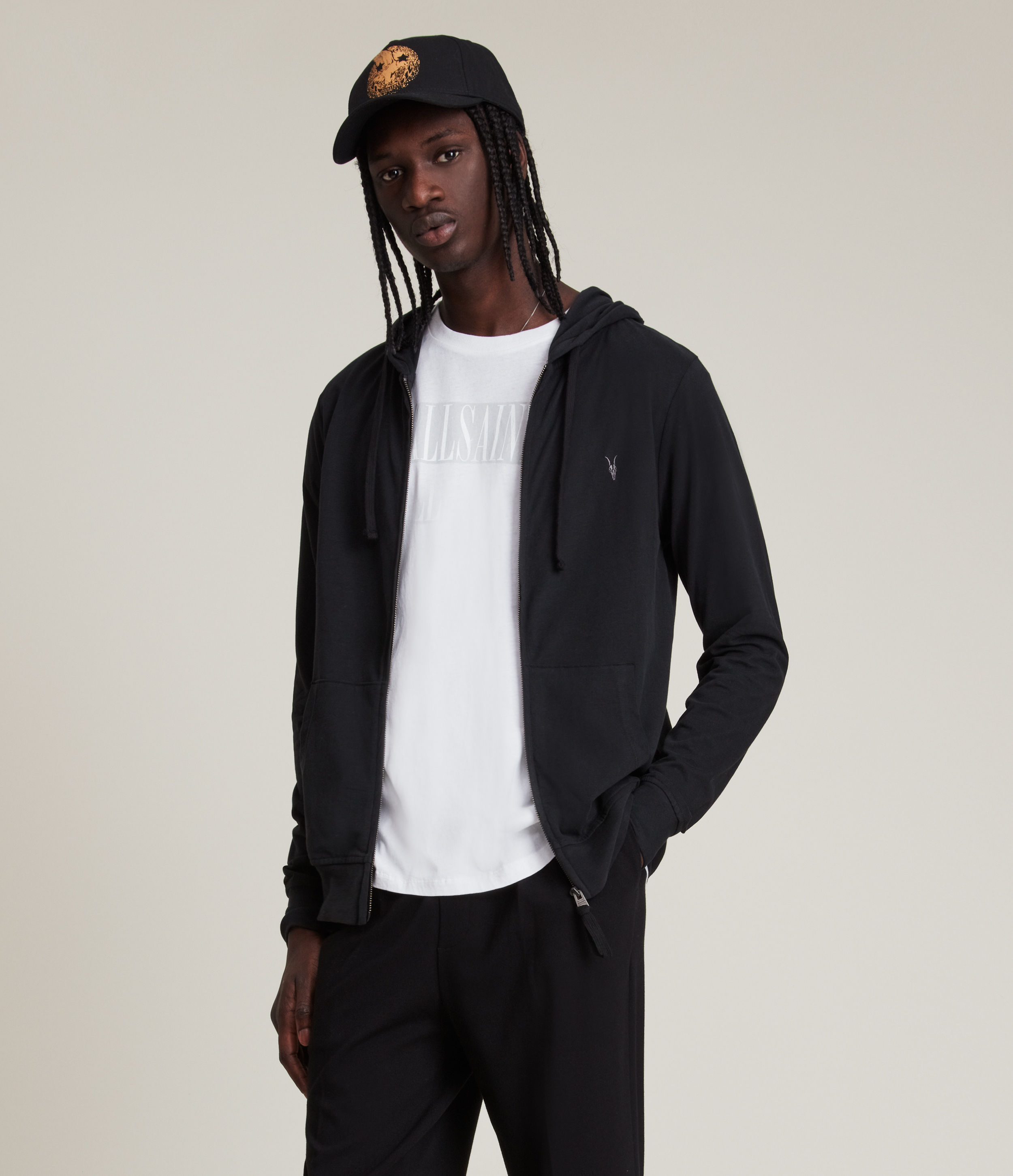 AllSaints Men's Cotton Regular Fit Zip Up Brace Hoodie, Black, Size: M