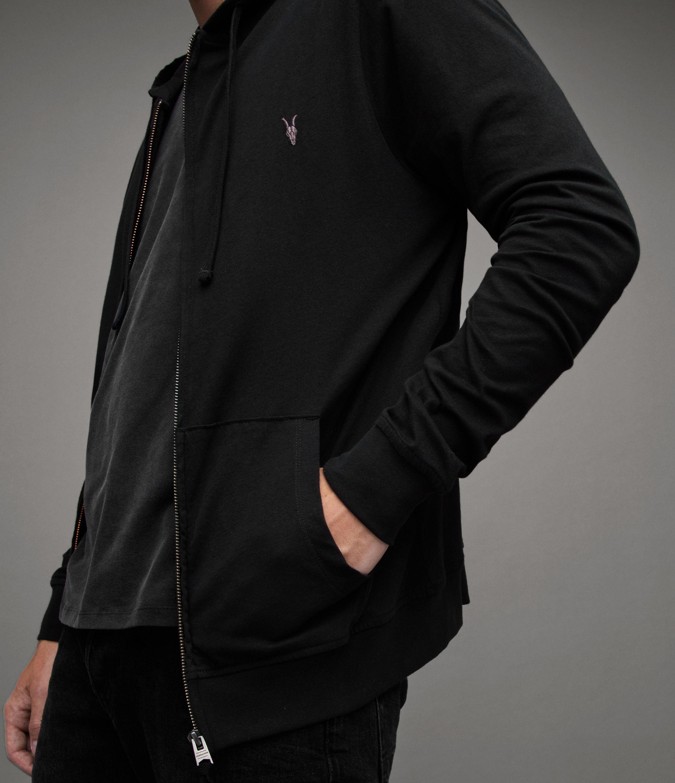 AllSaints Men's Cotton Regular Fit Brace Hoodie, Black, Size: S