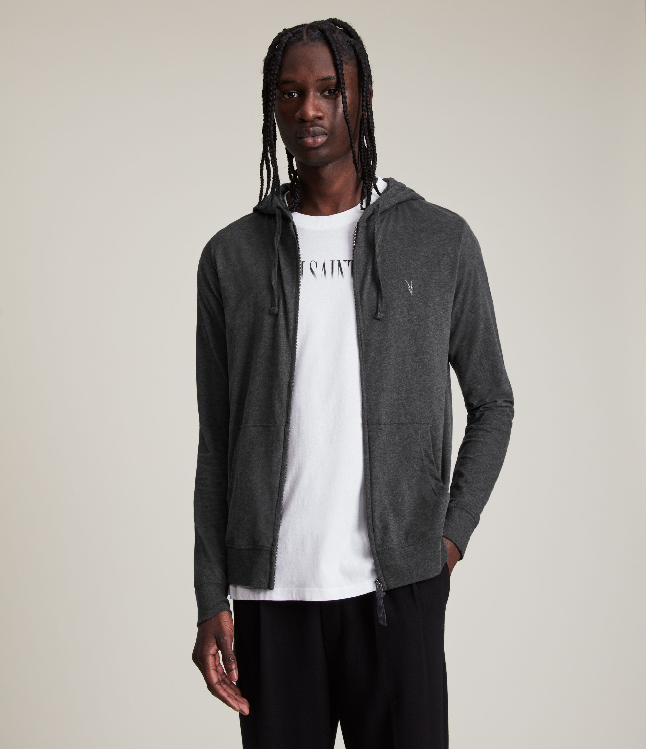 AllSaints Men's Cotton Regular Fit Brace Hoodie, Grey, Size: XS