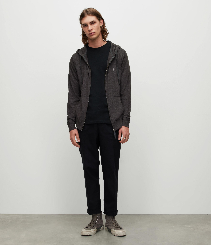 AllSaints Men's Cotton Regular Fit Brace Hoodie, Dark Grey, Size: M