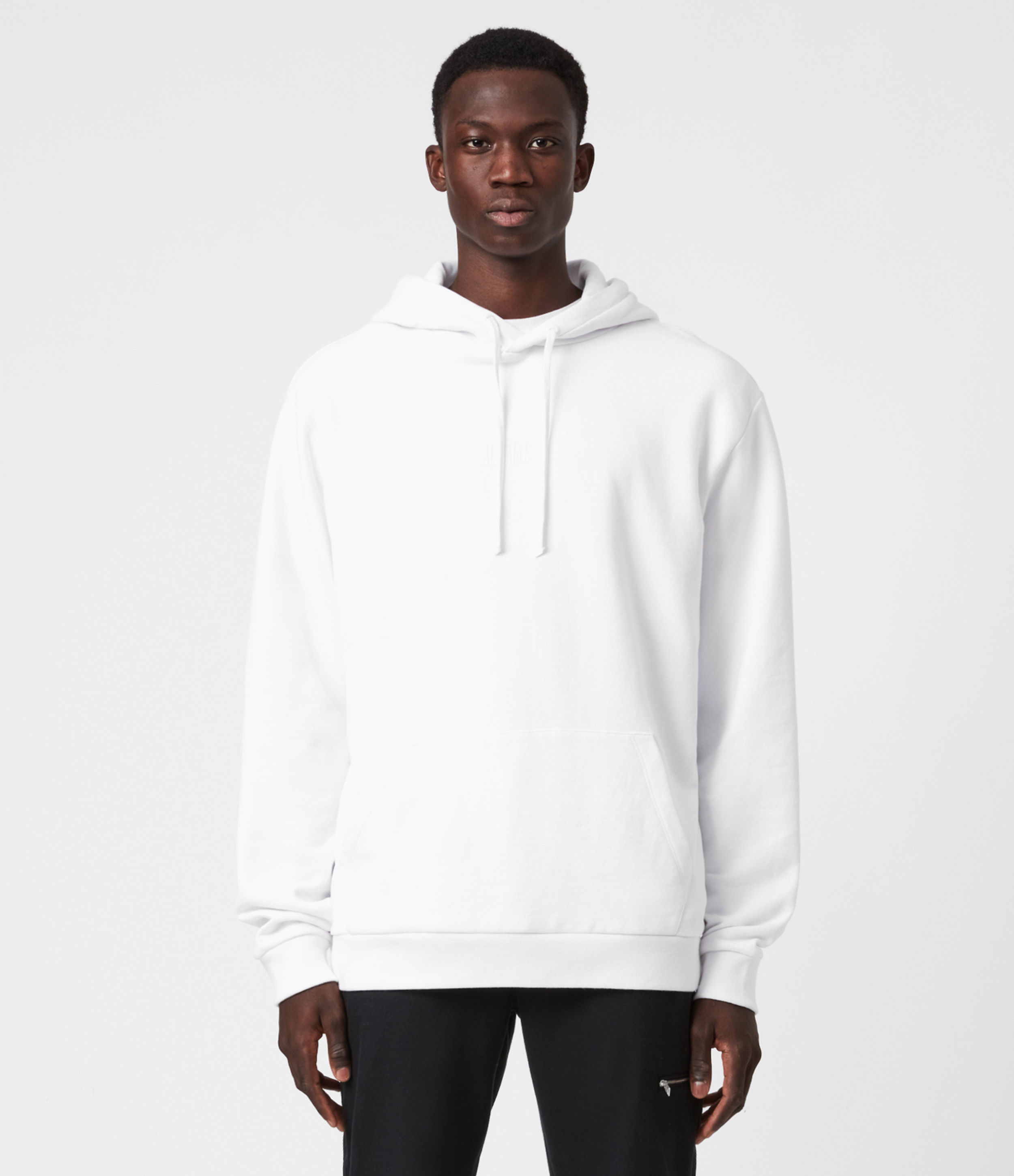 AllSaints Mens Element Pullover Hoodie, White, Size: XS