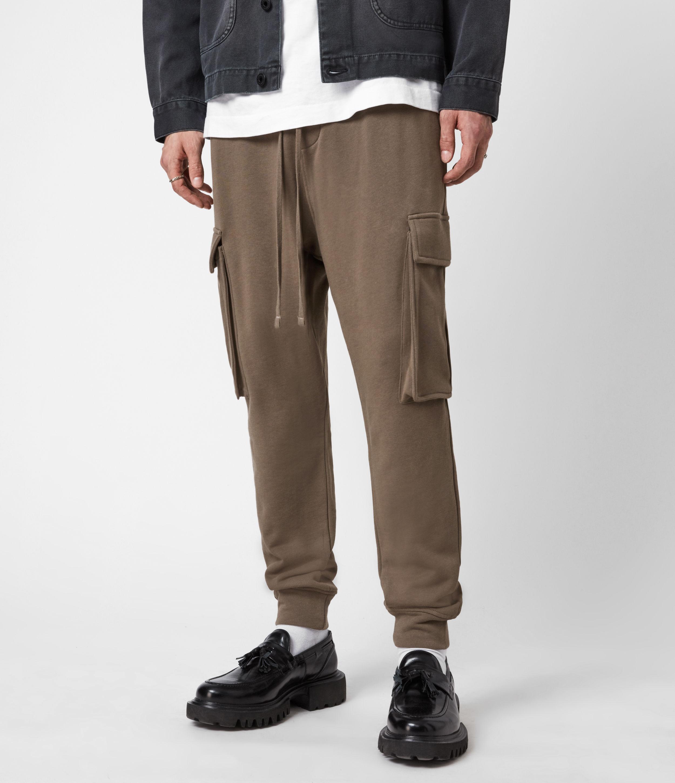 AllSaints Mens Ellis Cuffed Sweatpants, Washed Khaki Brown, Size: M