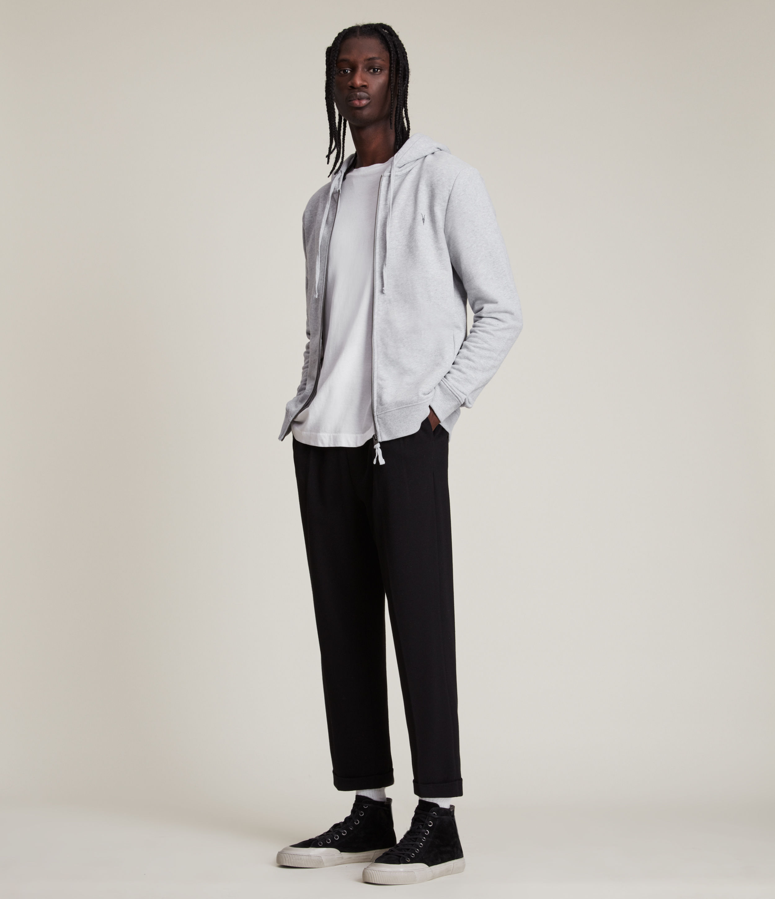 AllSaints Men's Cotton Slim Fit Raven Hoodie, Grey, Size: XXL