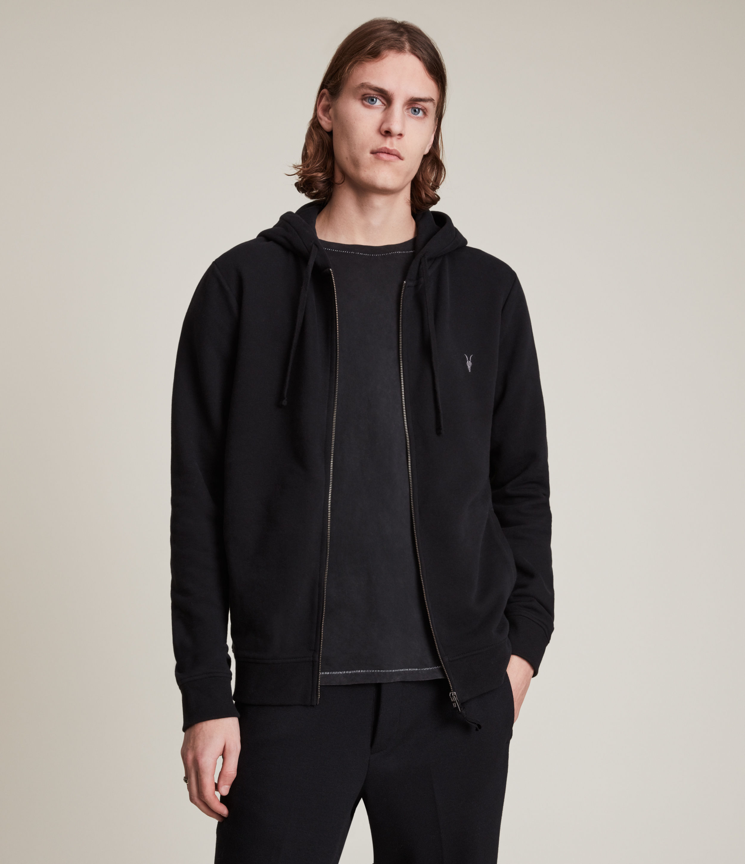 AllSaints Men's Cotton Slim Fit Raven Zip Hoodie, Black, Size: L