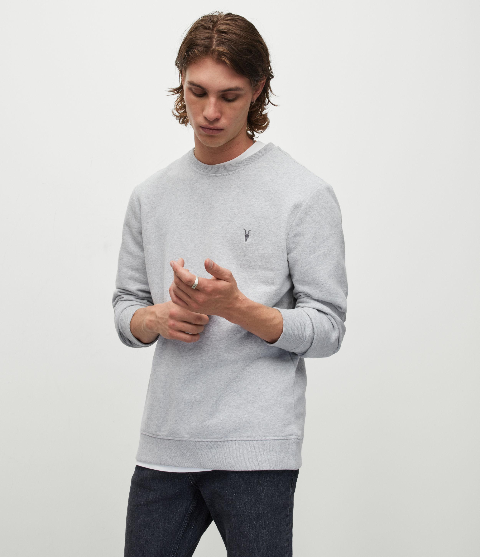 AllSaints Men's Cotton Slim Fit Raven Sweatshirt, Grey, Size: L