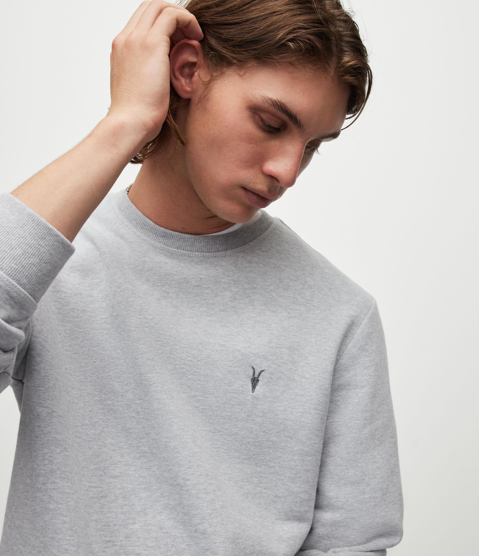 AllSaints Men's Cotton Slim Fit Raven Sweatshirt, Grey, Size: XXL