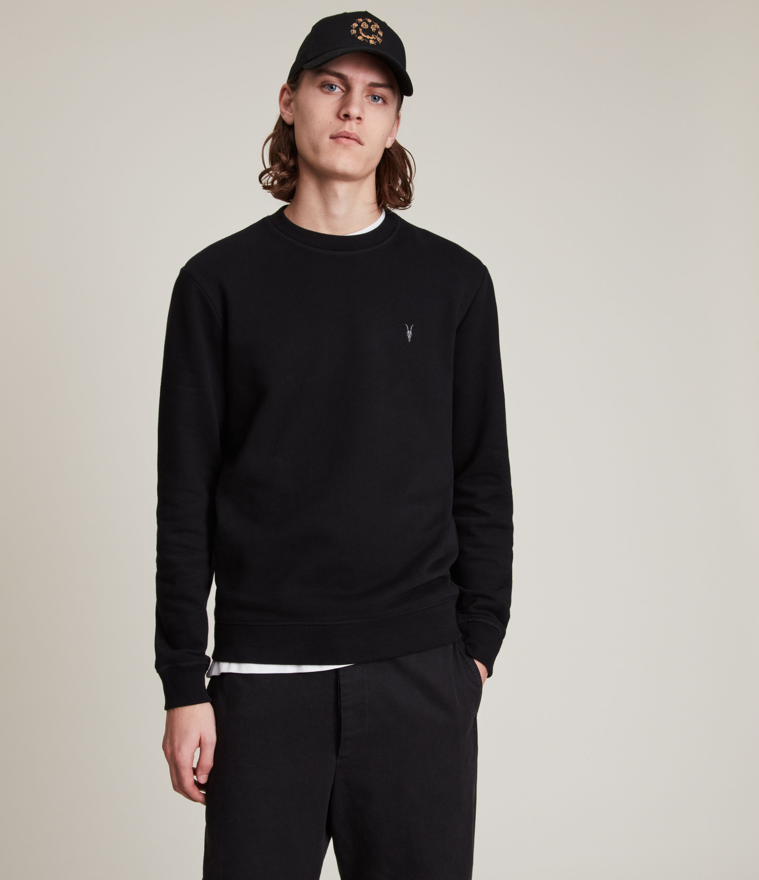 AllSaints Men's Cotton Slim Fit Raven Sweatshirt, Black, Size: L