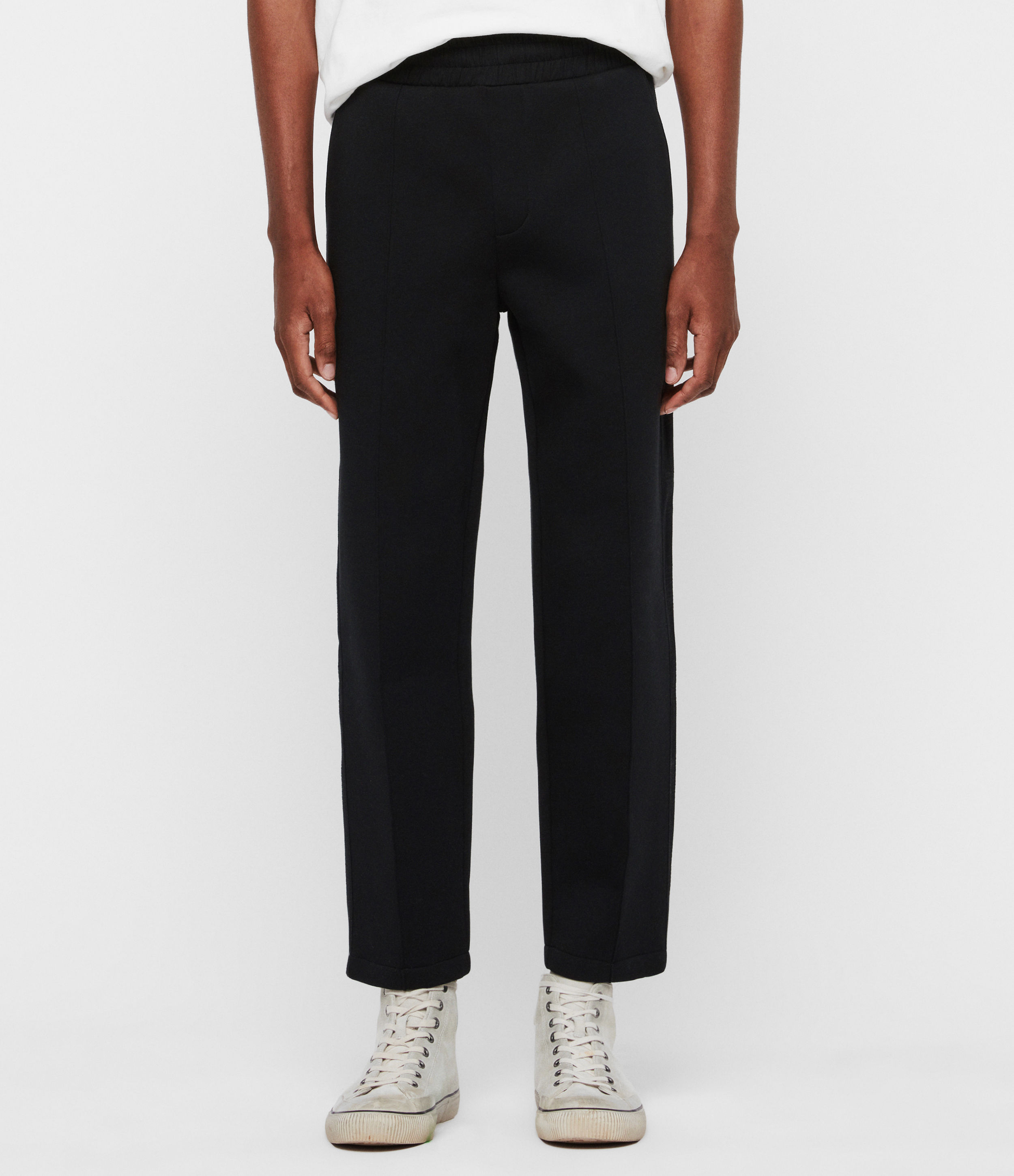 AllSaints Men's Cotton Relaxed Fit Hayford Cropped Tapered Sweatpants, Black, Size: M