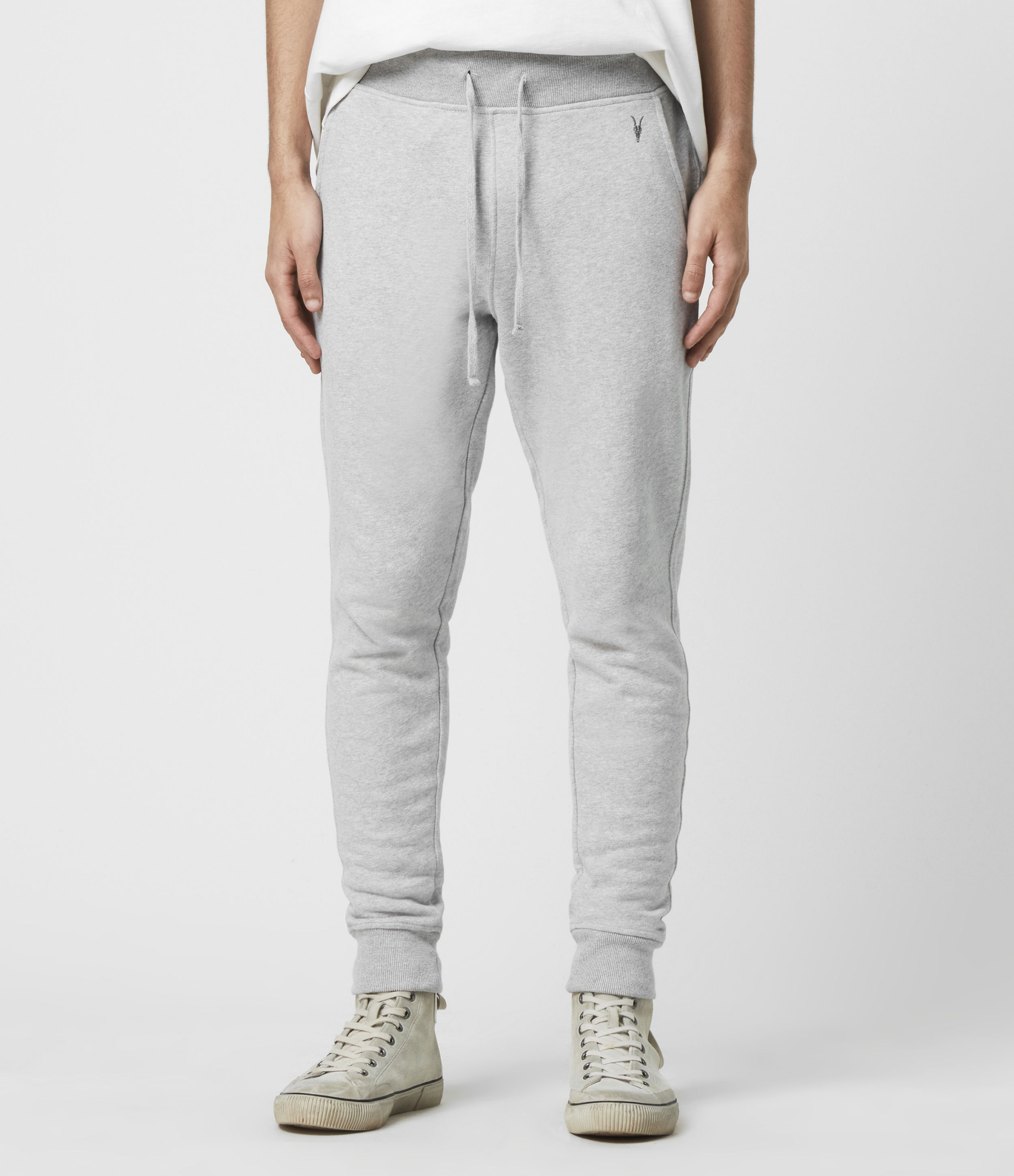 AllSaints Men's Cotton Slim Fit Raven Cuffed Sweatpants, Grey, Size: XL