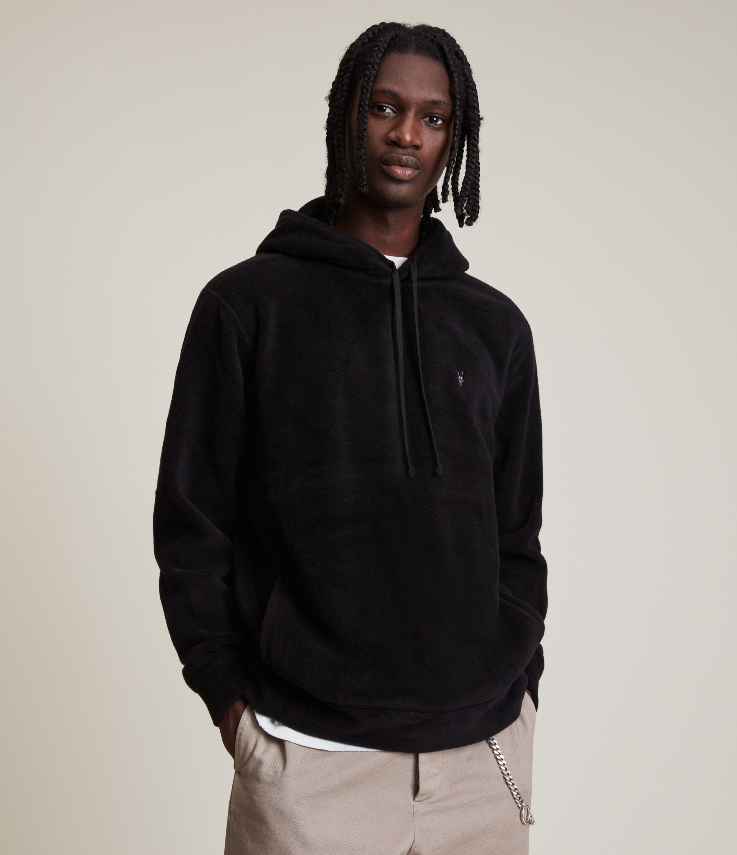 AllSaints Men's Relaxed Fit Torin Pullover Hoodie, Black, Size: L