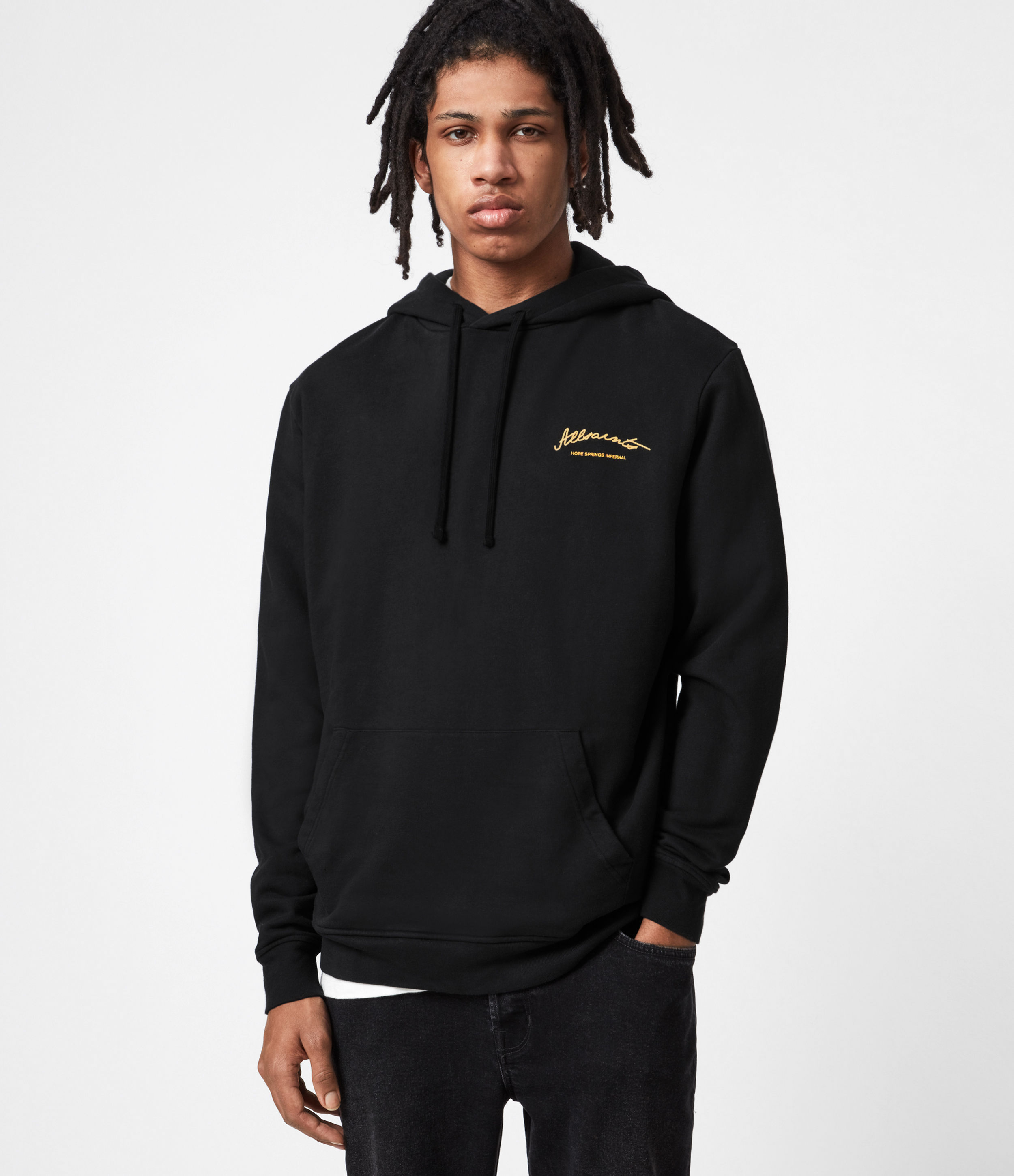 AllSaints Men's Cotton Relaxed Fit Carson Pullover Hoodie, Black and Yellow, Size: S