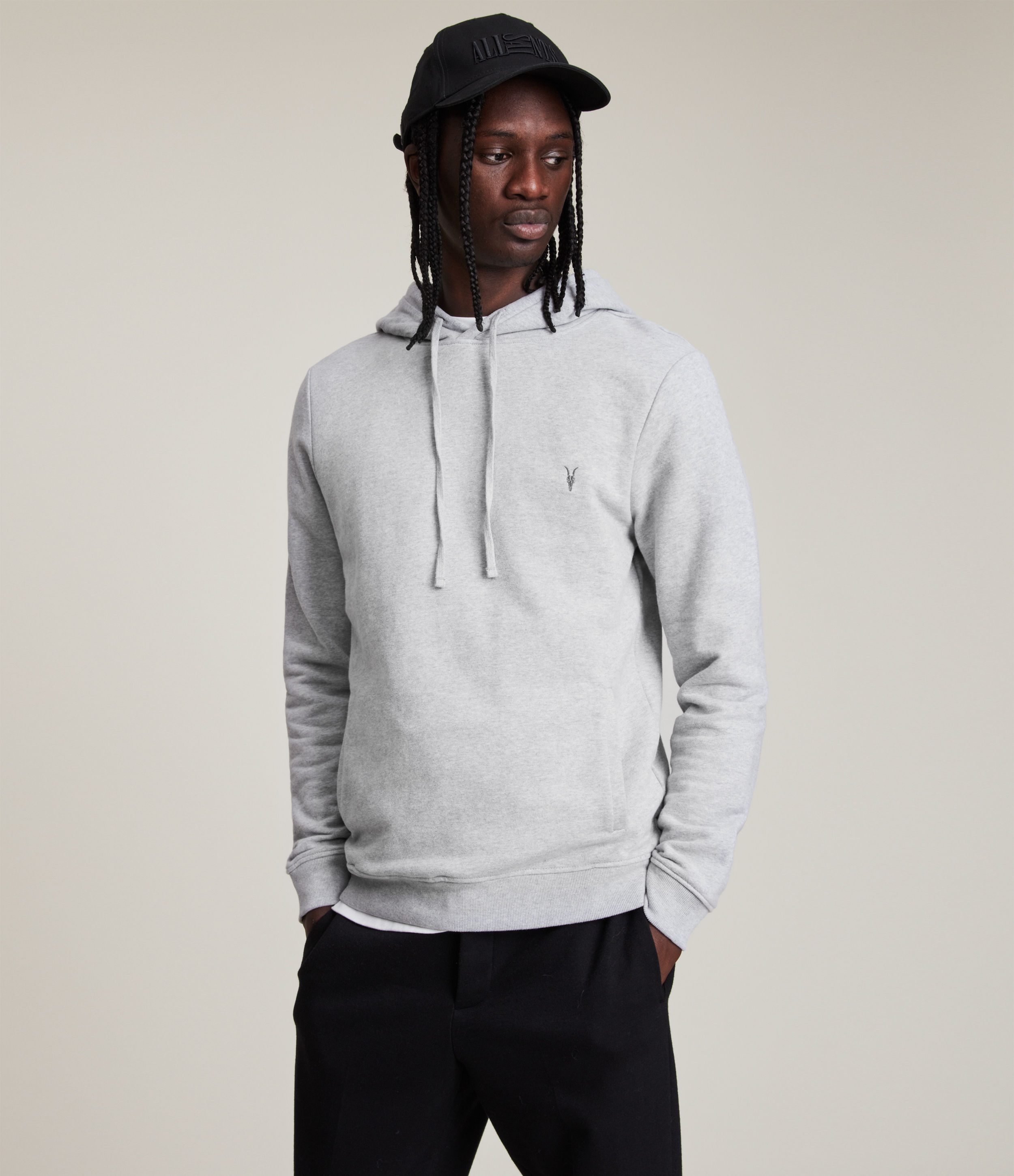 AllSaints Men's Cotton Slim Fit Raven Pullover Hoodie, Grey, Size: S
