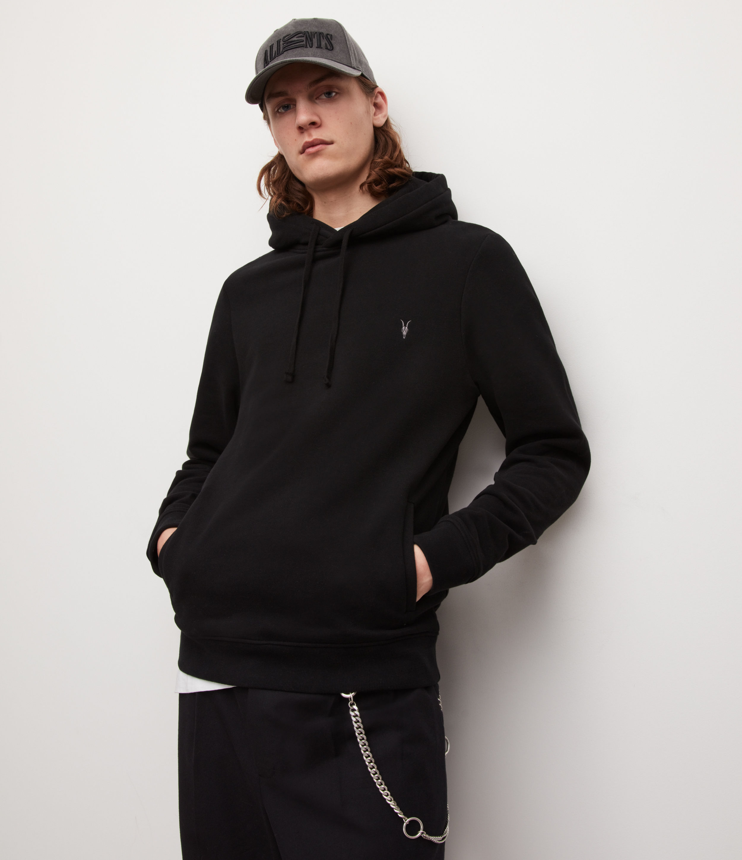 AllSaints Men's Cotton Slim Fit Raven Pullover Hoodie, Black, Size: XXL