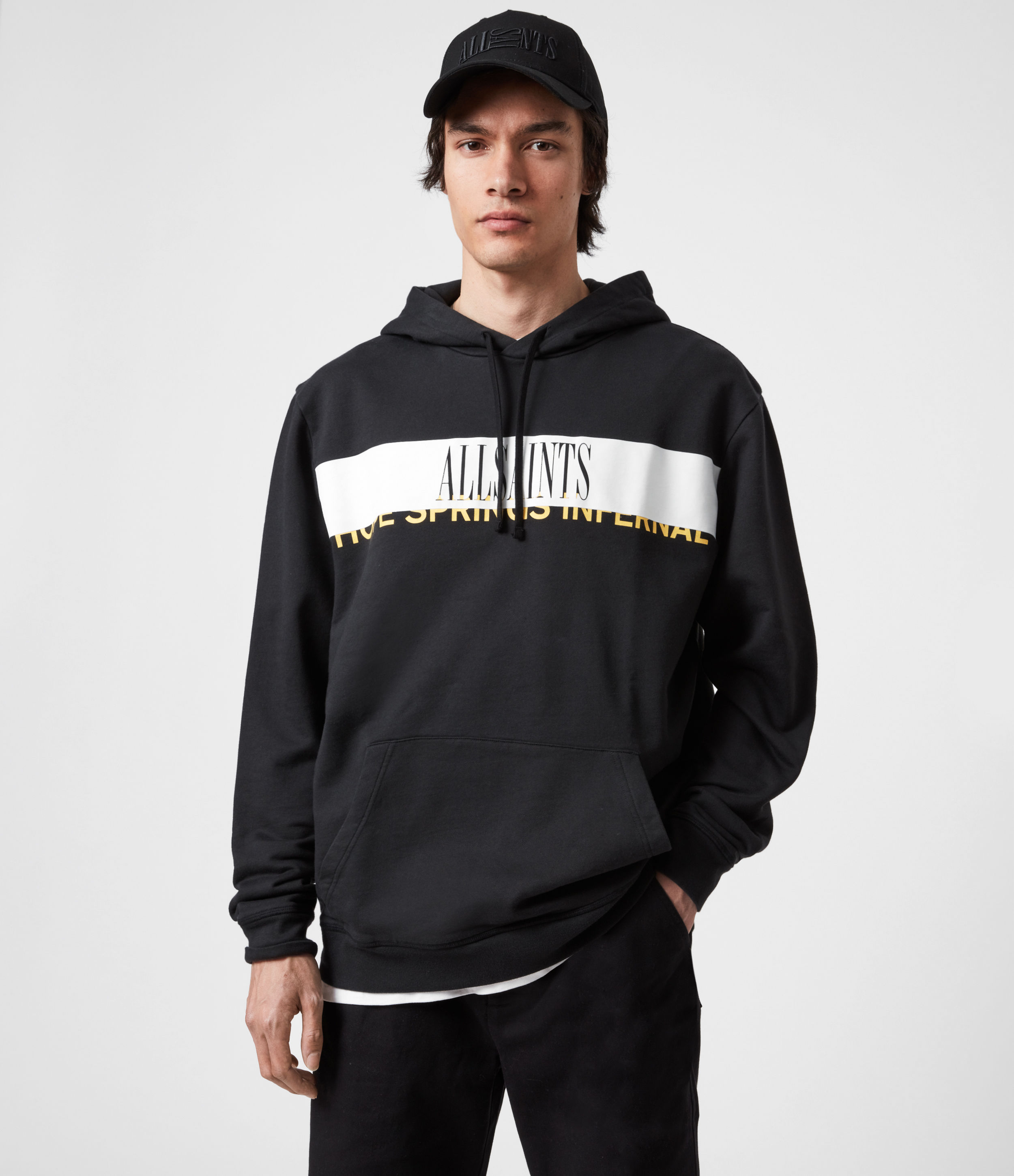 AllSaints Men's Cotton Graphic Print Feica Pullover Hoodie, Black, White and Yellow, Size: S