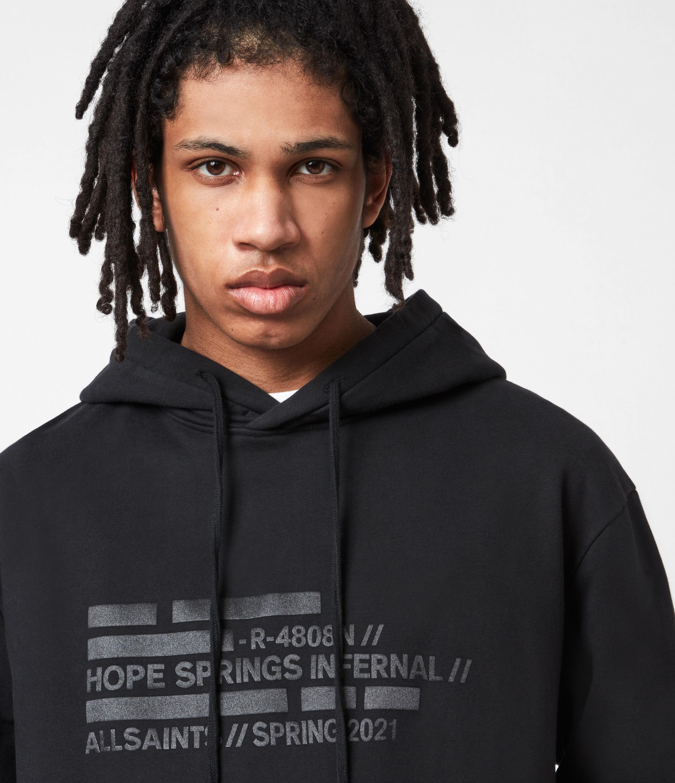 AllSaints Men's Silas Pullover Hoodie, Jet Black, Size: S