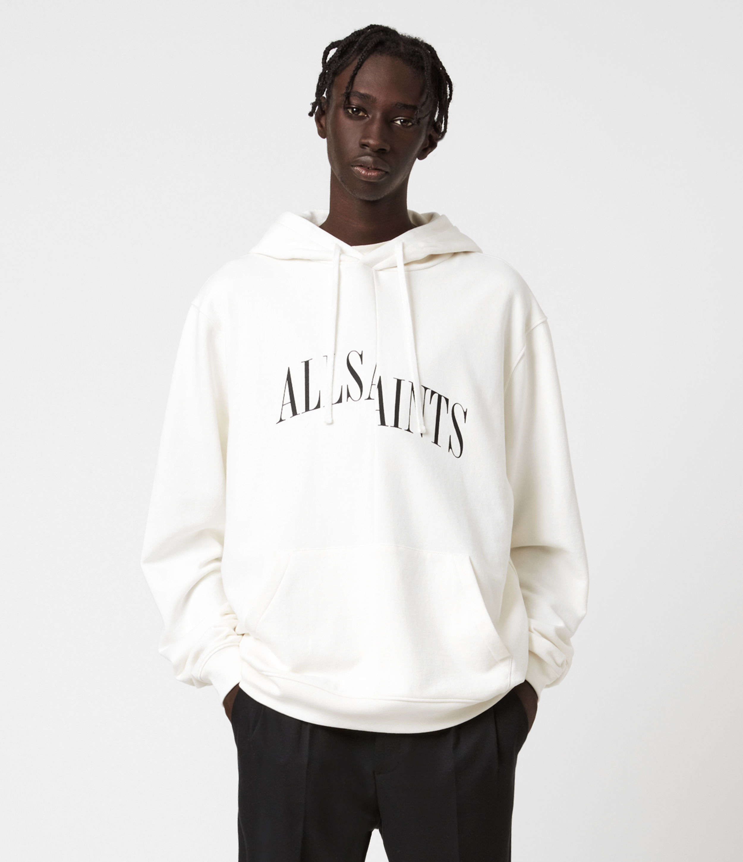 AllSaints Men's Cotton Relaxed Fit Dropout Pullover Hoodie, White, Size: XL
