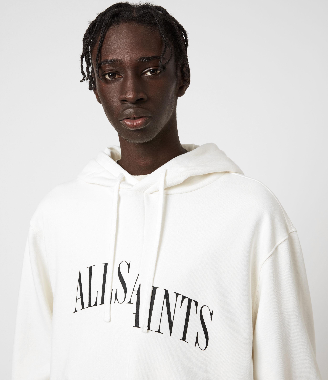 AllSaints Men's Cotton Relaxed Fit Dropout Pullover Hoodie, White, Size: XXL
