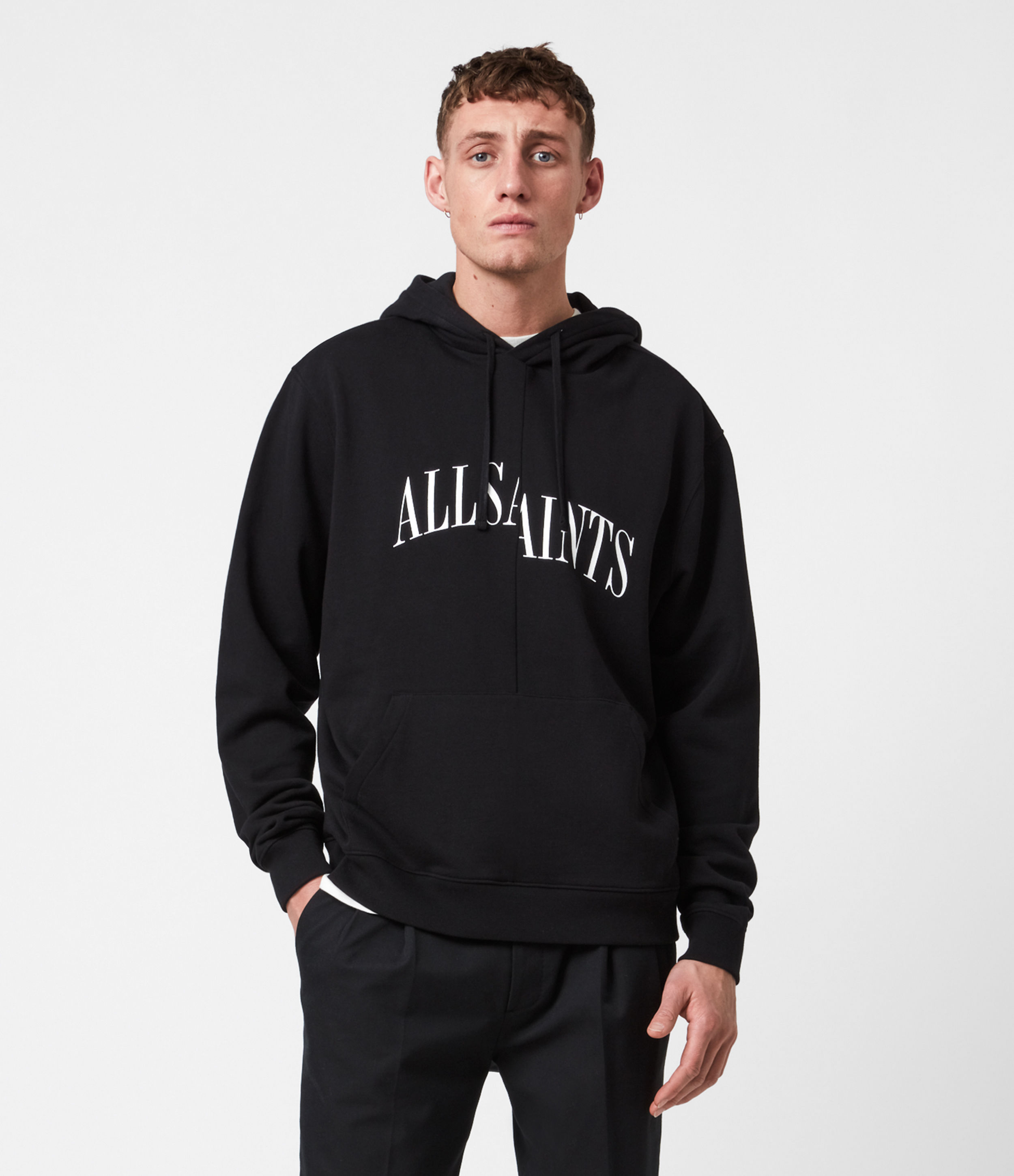 AllSaints Men's Cotton Logo Print Relaxed Fit Dropout Pullover Hoodie, Black, Size: XXL