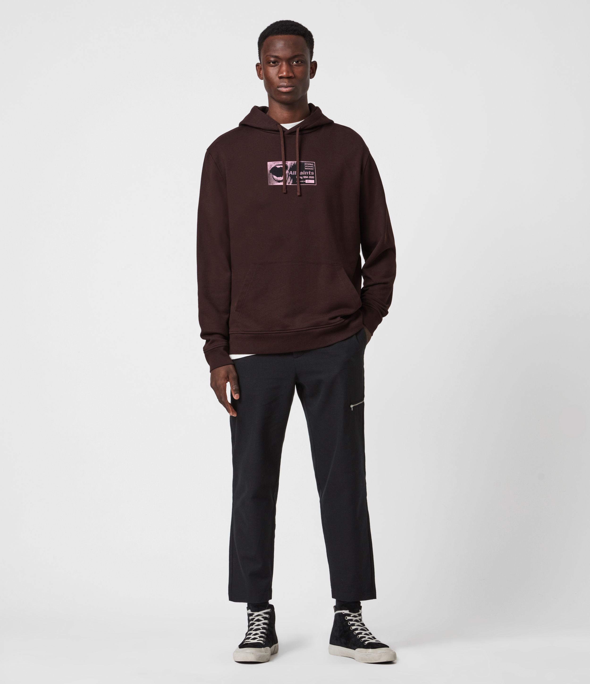 AllSaints Mens Shout Hoodie, Oxblood RED, Size: XS