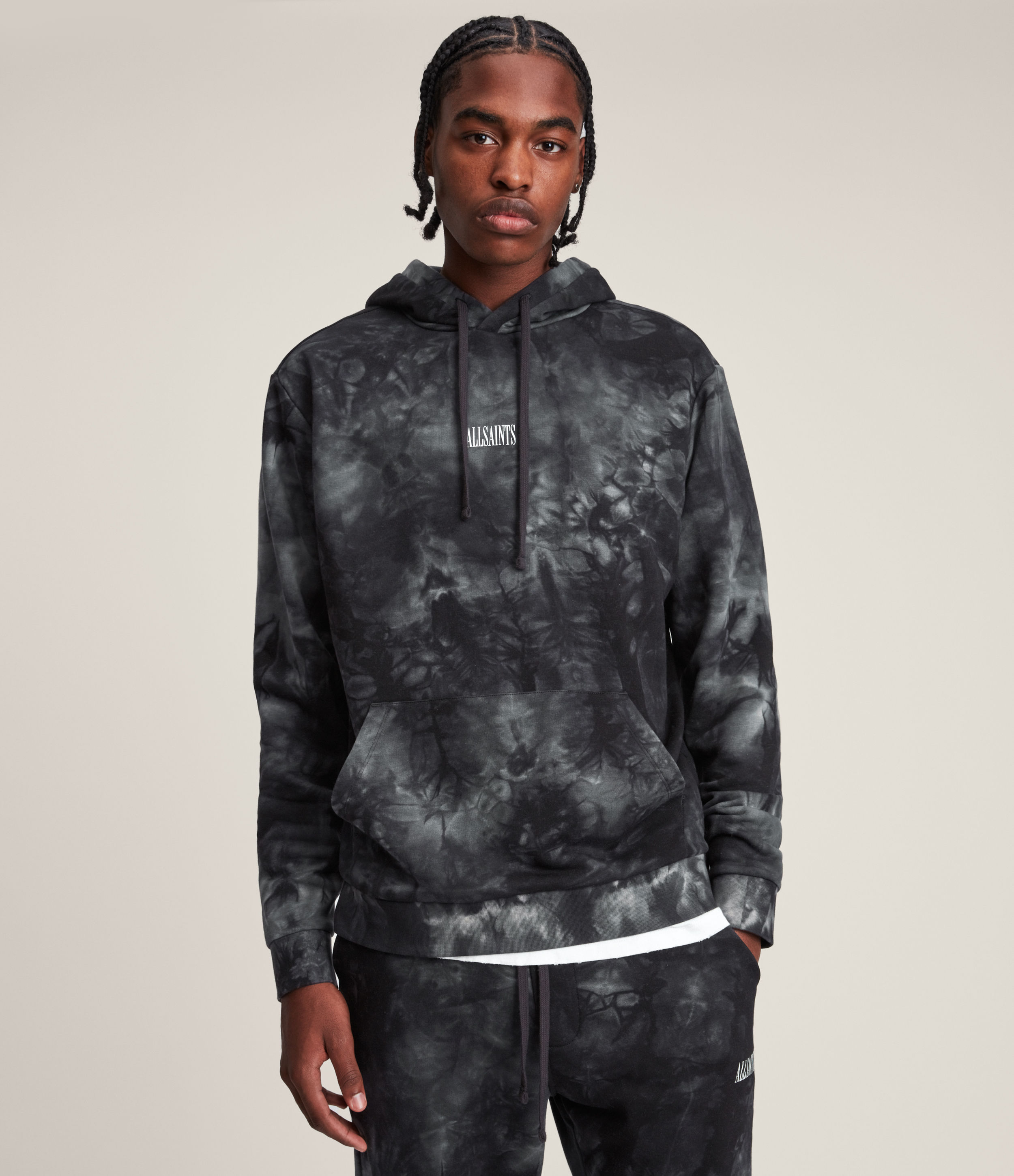 AllSaints Men's Clay Pullover Hoodie, Grey/Blue, Size: S