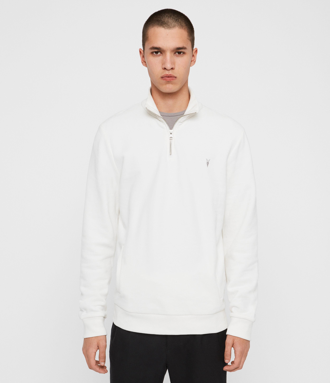 AllSaints Men's Cotton Slim Fit Raven Half Zip Funnel Sweatshirt, White, Size: XL