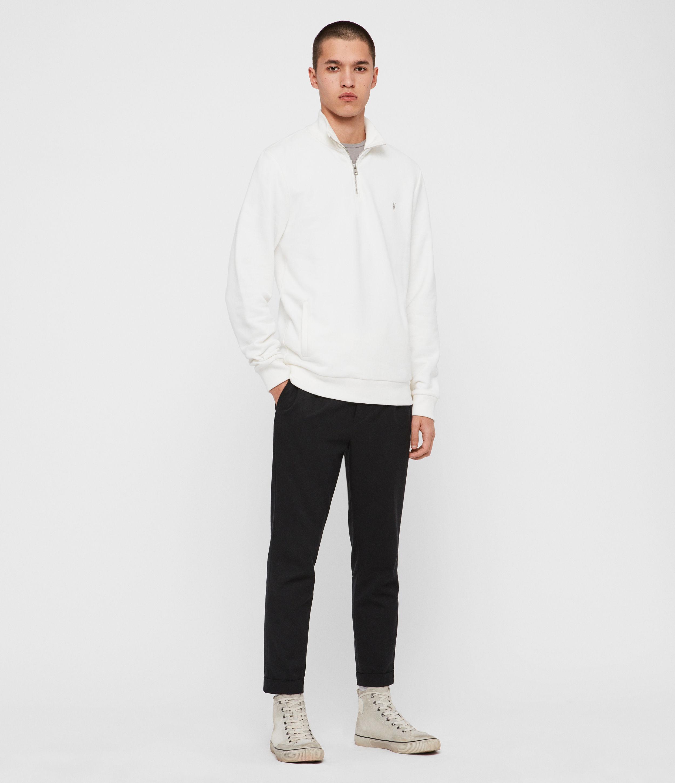 AllSaints Men's Cotton Slim Fit Raven Half Zip Funnel Sweatshirt, White, Size: XXL