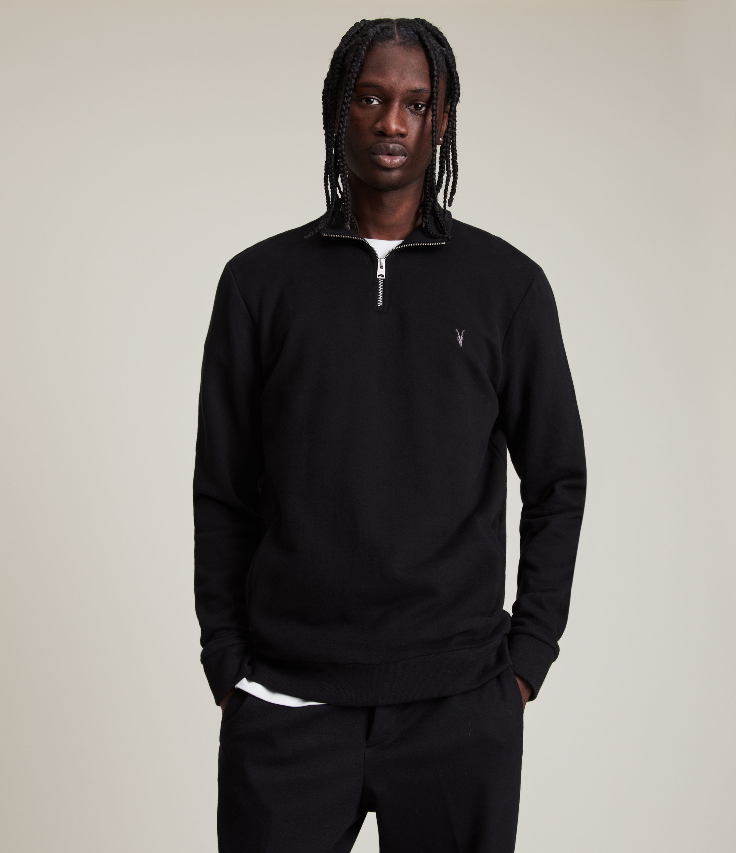 AllSaints Men's Cotton Slim Fit Raven Half Zip Funnel Sweatshirt, Black, Size: S