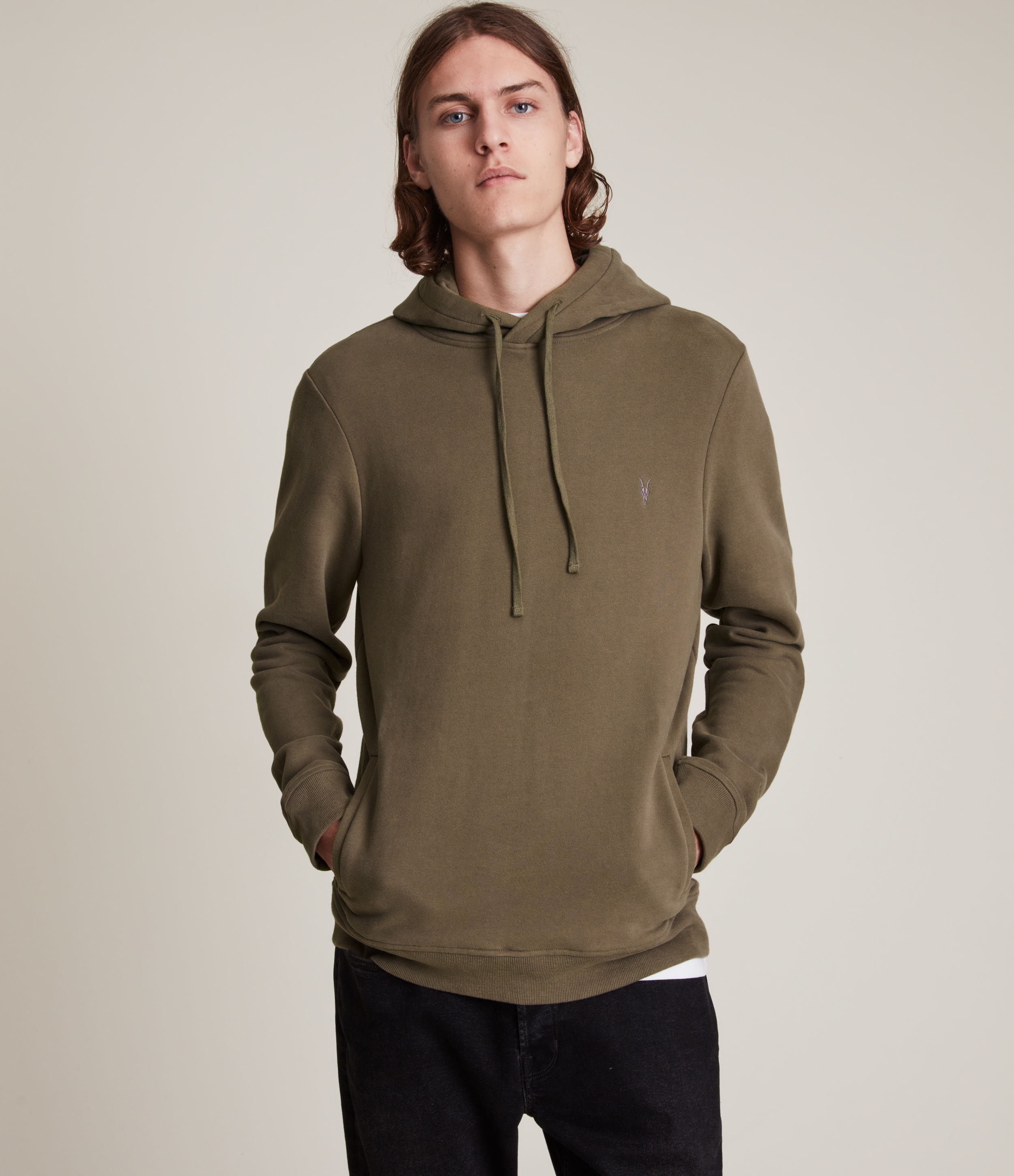 AllSaints Men's Raven Pullover Hoodie, Peppered Brown, Size: S