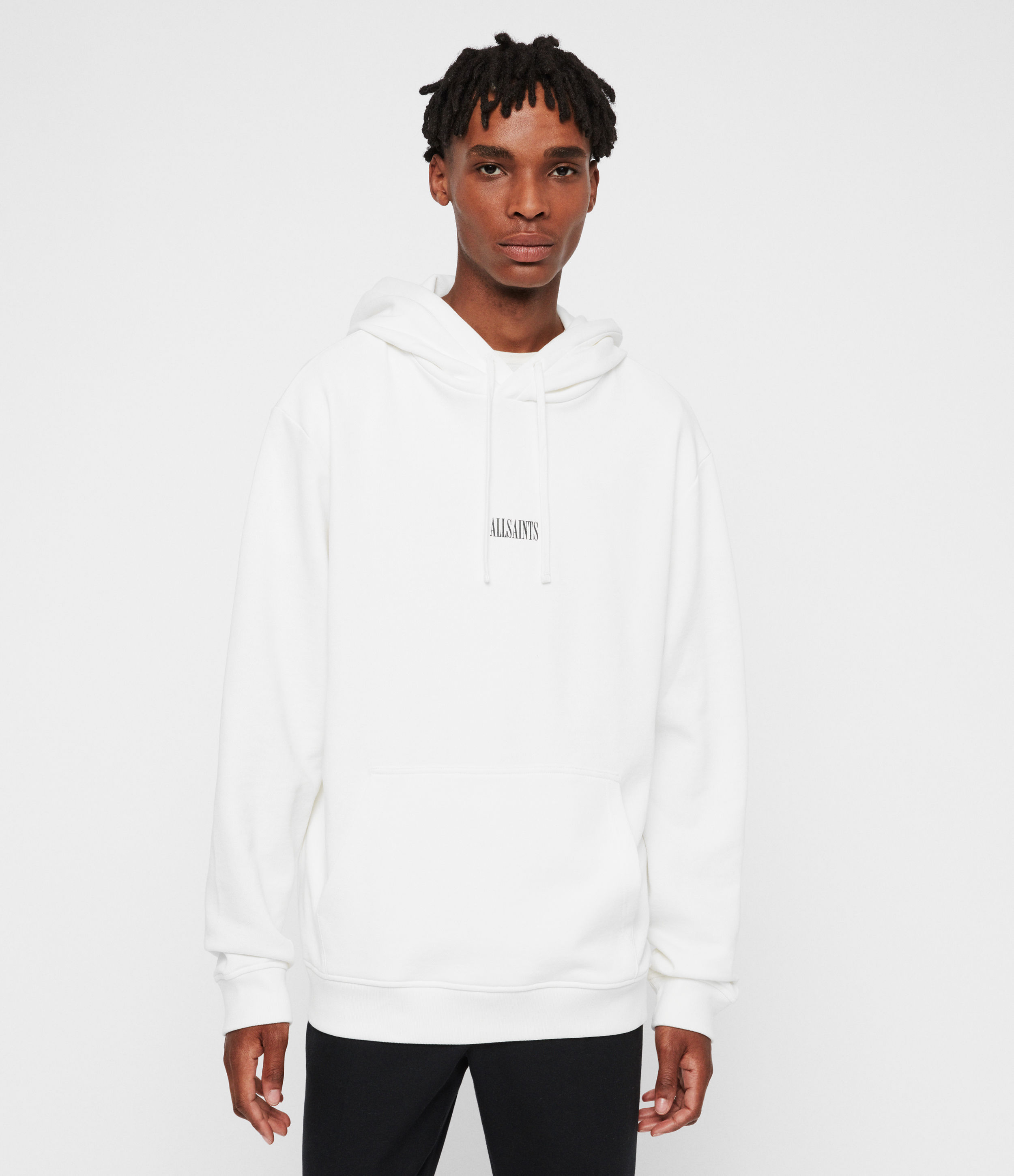 AllSaints Men's Cotton Relaxed Fit State Pullover Hoodie, White, Size: XXL