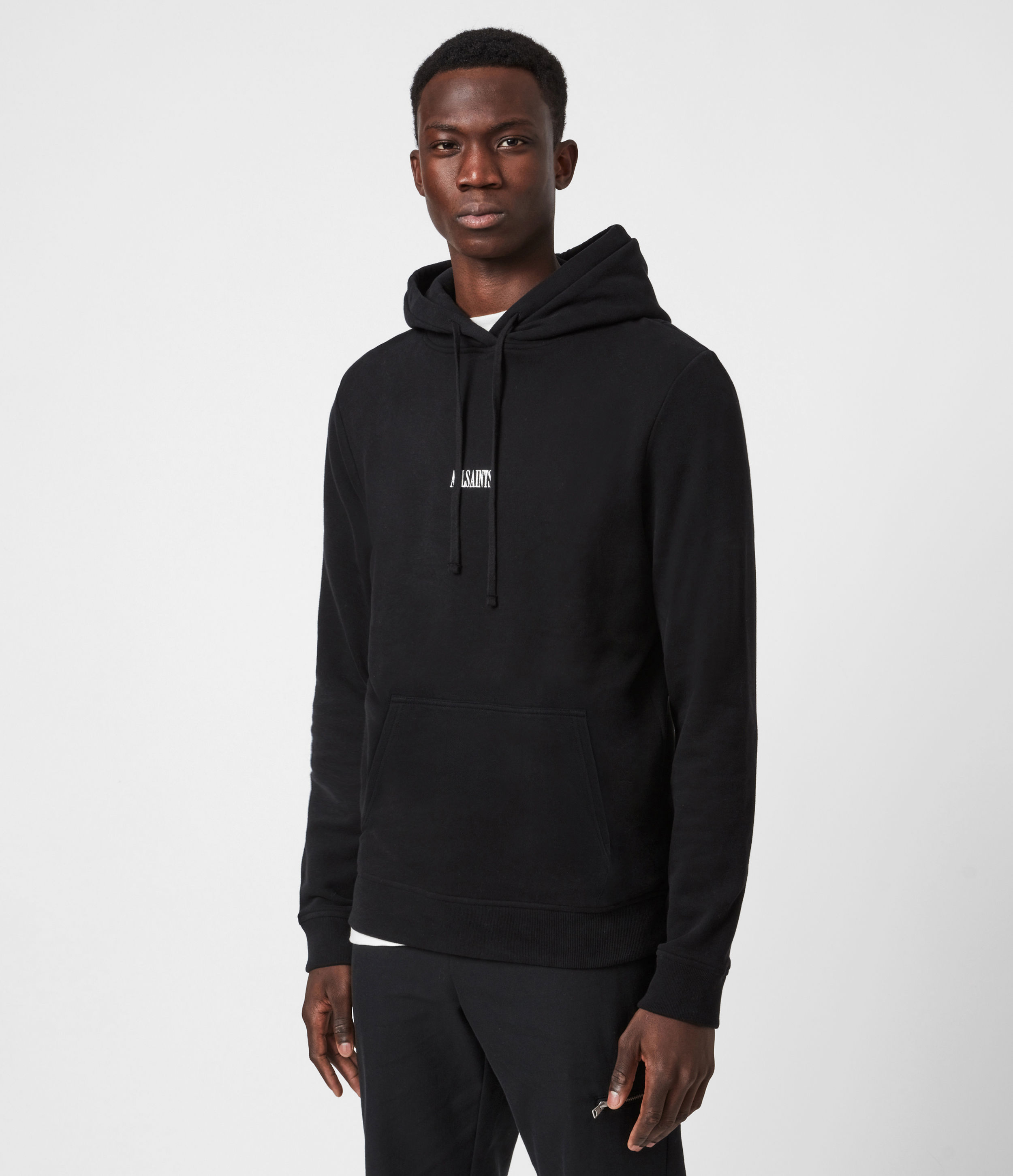 AllSaints Men's Cotton Comfortable Relaxed Fit State Pullover Hoodie, Black, Size: S