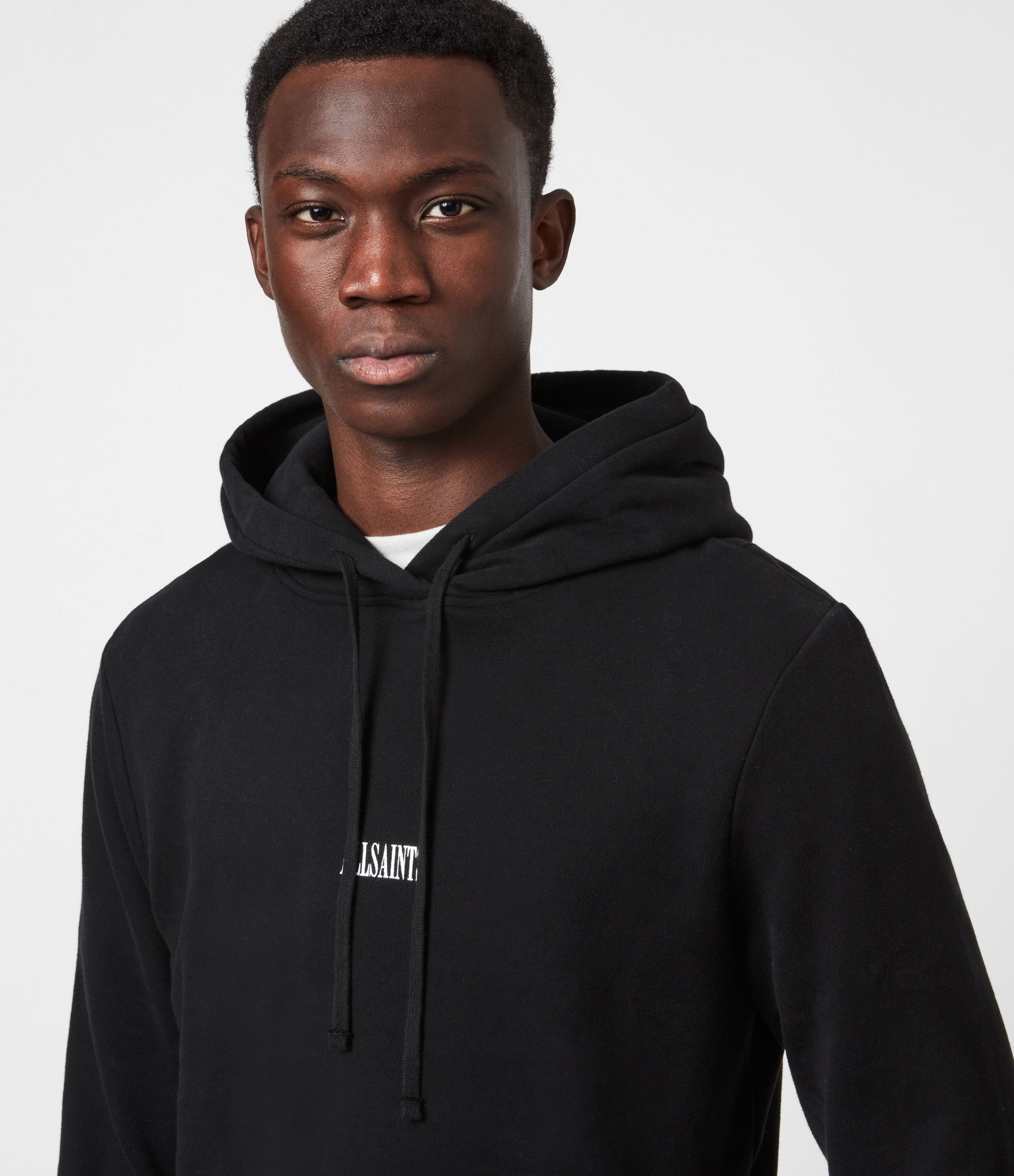 AllSaints Men's Relaxed Fit Cotton Comfortable State Ribbed Trim Pullover Hoodie, Black, Size: S