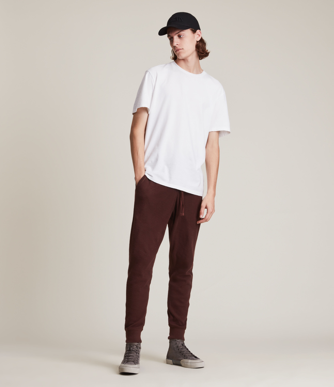 AllSaints Men's Muse Cuffed Slim Sweatpants, Charred RED, Size: M