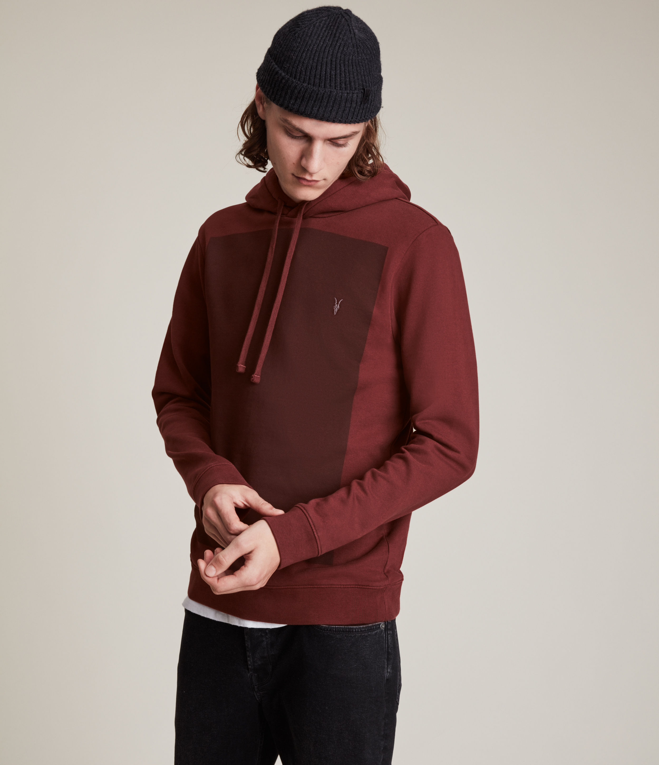AllSaints Men's Lobke Pullover Hoodie, Damson Red, Size: XS