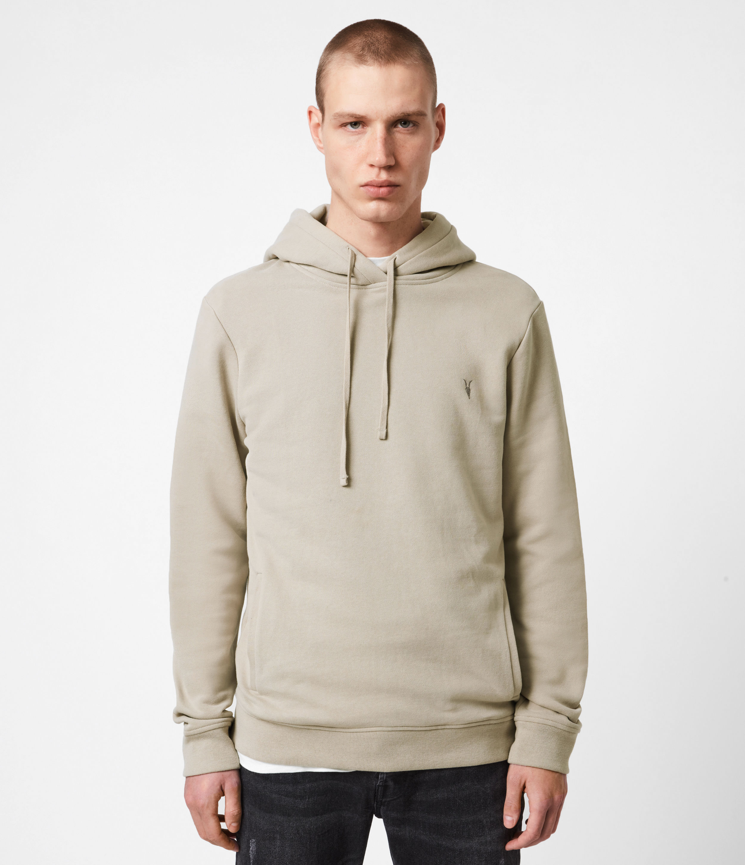 AllSaints Mens Raven Pullover Hoodie, Toasted Taupe, Size: XL