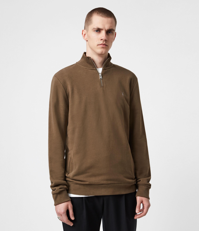 AllSaints Mens Raven Half Zip Funnel Sweatshirt, Totem Brown, Size: S
