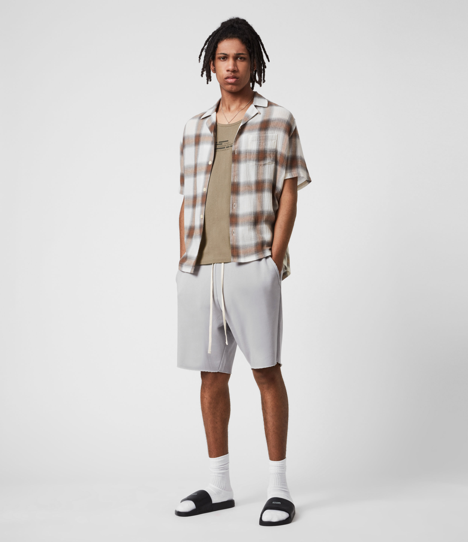AllSaints Mens Helix Sweatshorts, Heath Grey, Size: L