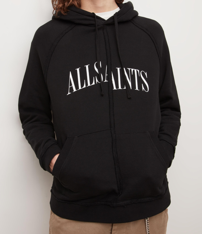 AllSaints Mens Diverge Pullover Hoodie, Jet Black, Size: XL