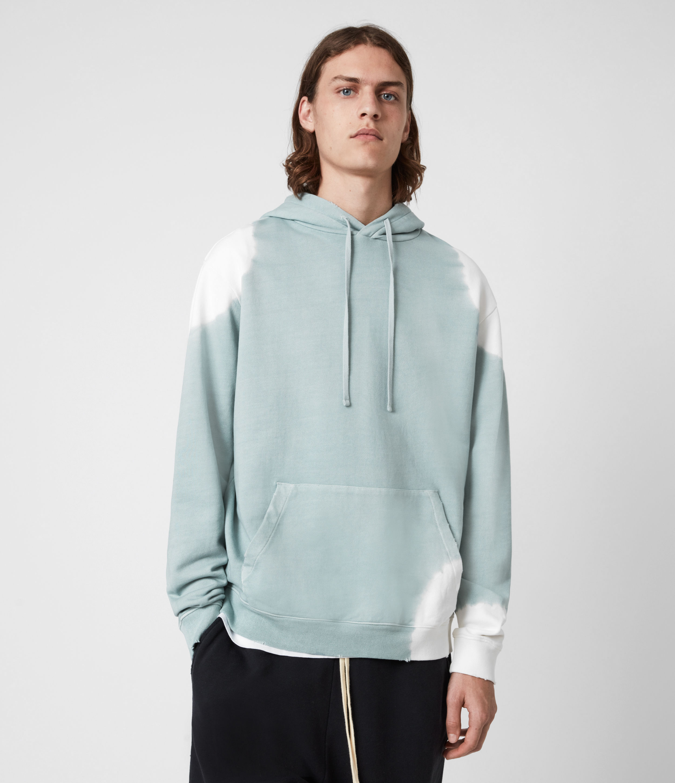 AllSaints Men's Karter Pullover Hoodie, Blue/White, Size: L