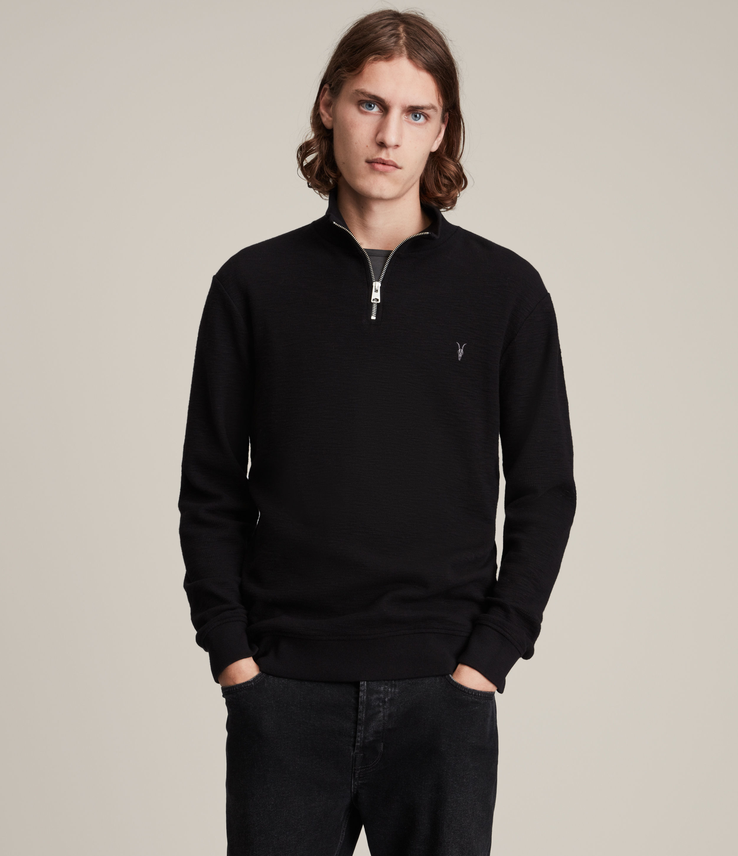 AllSaints Men's Muse Half Zip Funnel Neck Sweatshirt, Jet Black, Size: S