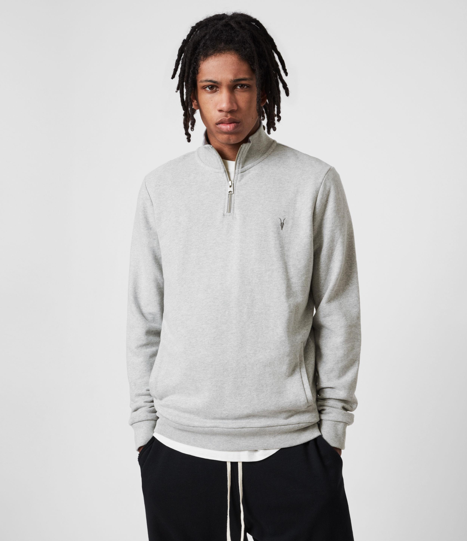 AllSaints Men's Raven Half Zip Sweatshirt, Grey Marl, Size: XXL