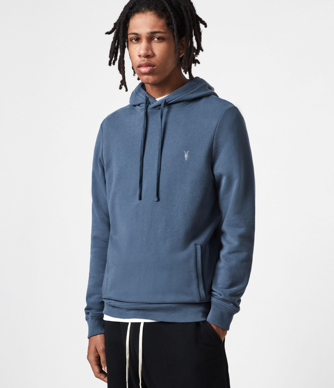 AllSaints Men's Cotton Slim Fit Raven Pullover Hoodie, Blue, Size: XL