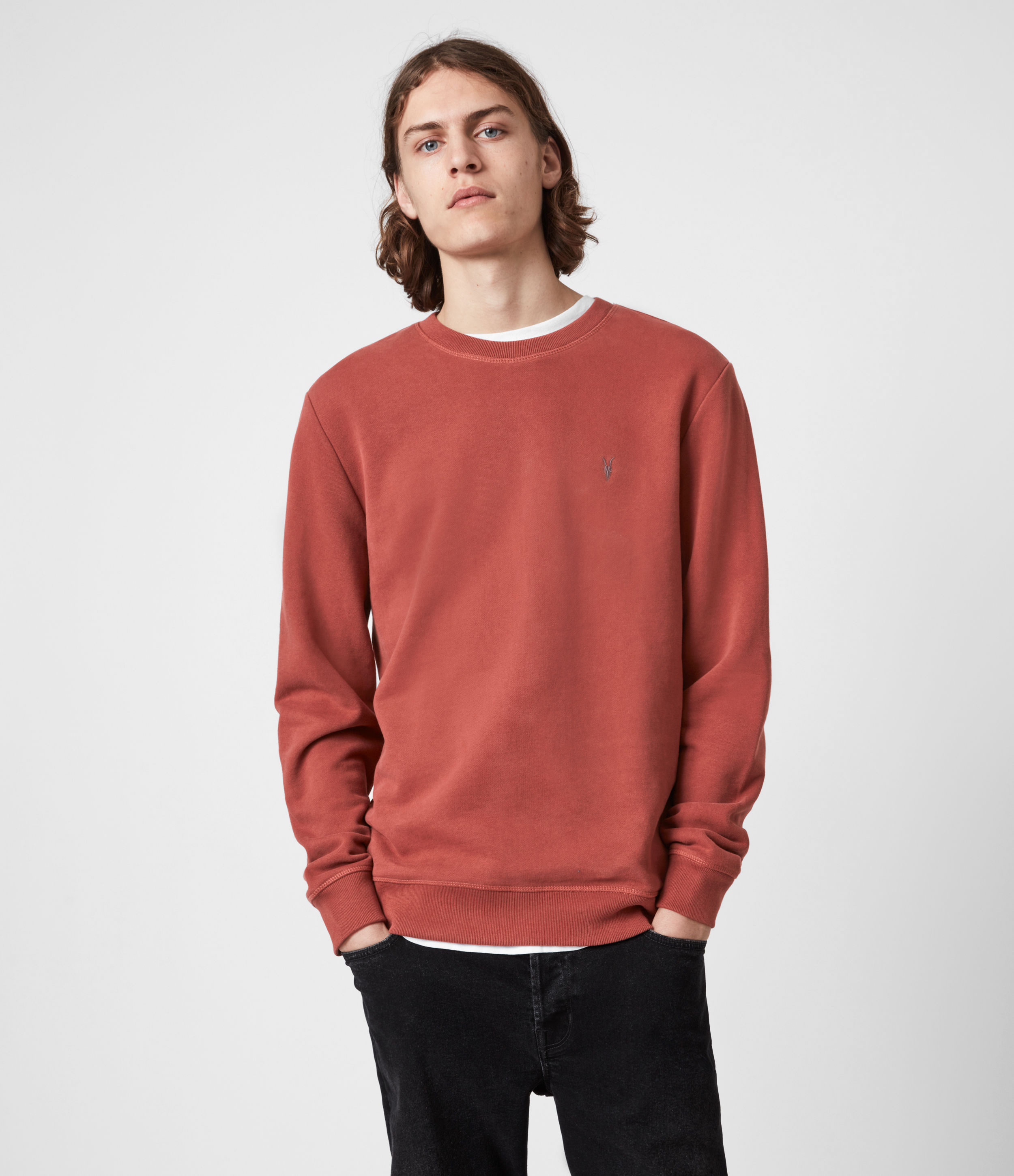 AllSaints Mens Raven Crew Sweatshirt, Clay RED, Size: M