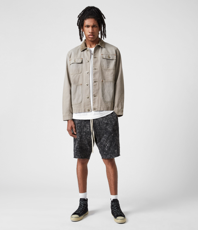 AllSaints Men's Hani Sweat Shorts, Washed Black, Size: XL