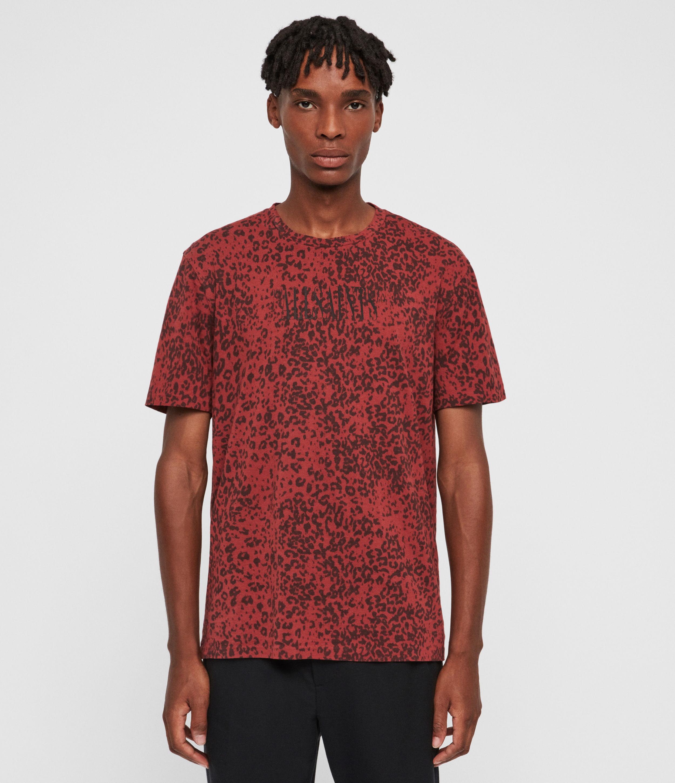 AllSaints Men's Brackets Leo Crew T-Shirt, Red, Size: S