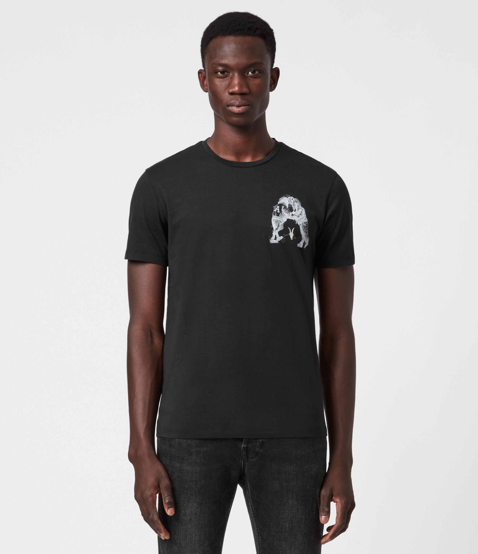 AllSaints Men's Fighters Crew T-Shirt, JET Blk/optic WHT, Size: XS