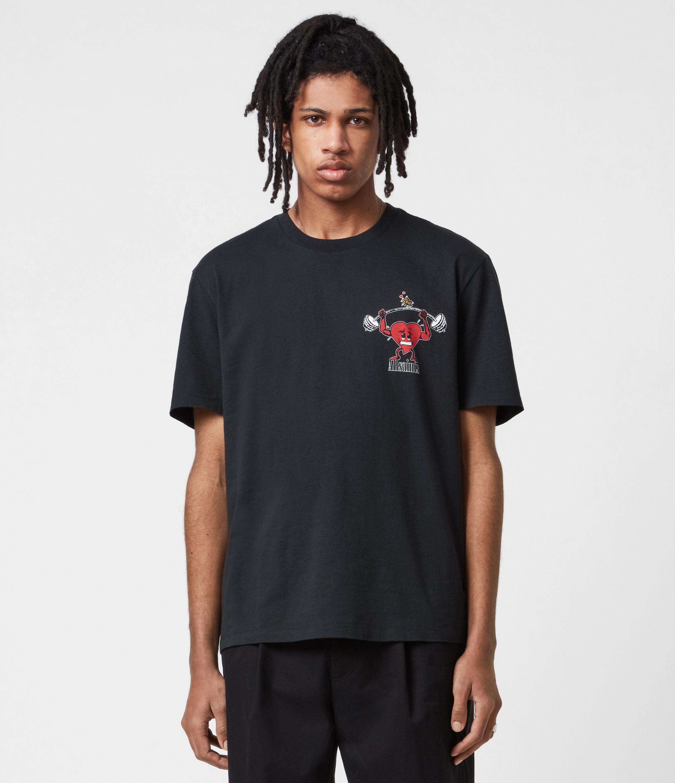 AllSaints Mens Gains Crew T-Shirt, Jet Black, Size: M